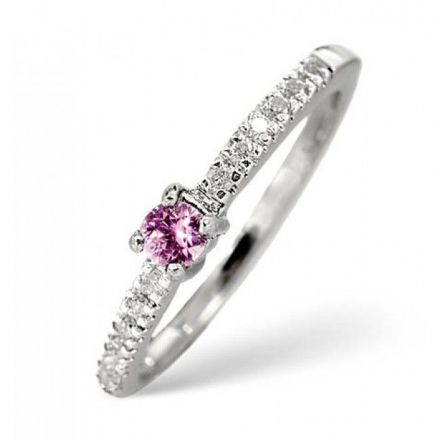 18K White Gold 0.10ct H/si Diamond & Pink Sapphire Ring, L2157